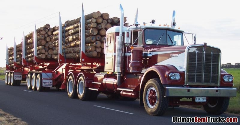 Murray Langford's W924 Kenworth with Tabeel B Double Logging Trailers