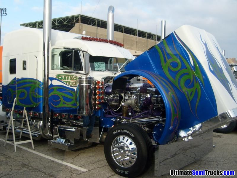 Peterbilt 379 with a chromed engine from the 2008 Mid America Truck Show
